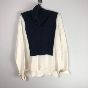 A. L. C. Alpaca Turtleneck Sweater Cream Blue